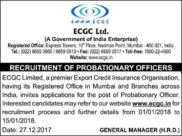 ECGC Probationary Officer Recruitment