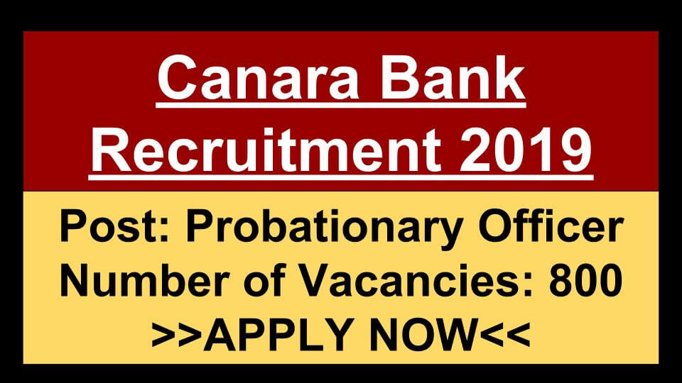 Canara Bank Recruitment 2019